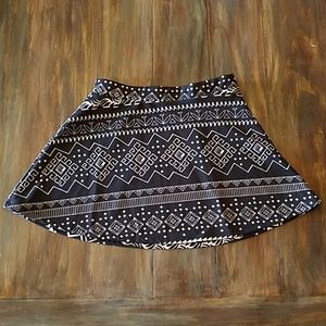Black and White A Line Skirt